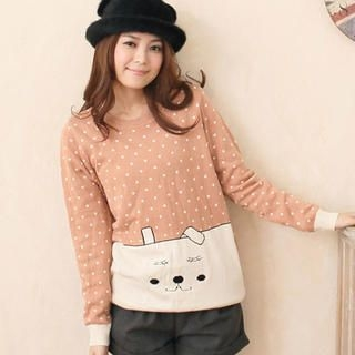 CatWorld - Animal-Print Dotted Knit Top