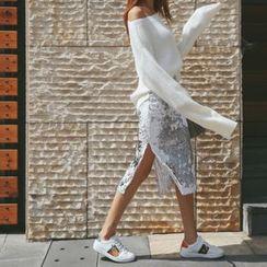 DABAGIRL - Slit-Side Sequined Midi Pencil Skirt