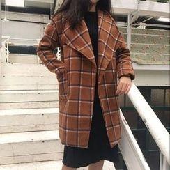 Dute - Check Lapel Snap Button Coat