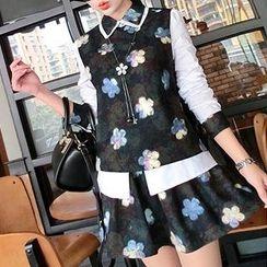 LittleSecret - Set: Floral Print Blouse + A-Line Skirt