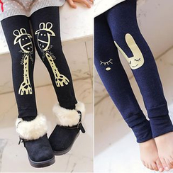 Madou - Kids Printed Fleece-Lined Leggings