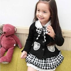 Lullaby - Kids Set: Bow Accent Collared Top + Plaid Skirt + Beret