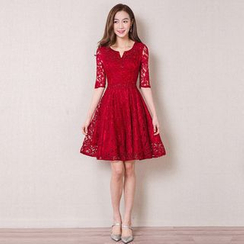 Royal Style - Elbow-Sleeve Lace Cocktail Dress