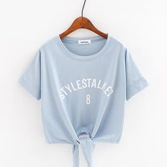 Sunny Day - Lettering Tie Waist Cropped Short Sleeve T-Shirt