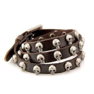 ANT TREE - Genuine Leather Skull-Studded Bracelet