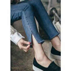 Chlo.D.Manon - Slit-Hem Washed Slim-Fit Jeans