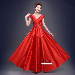 Bridal Workshop - Cap-Sleeve V-Neck Evening Gown
