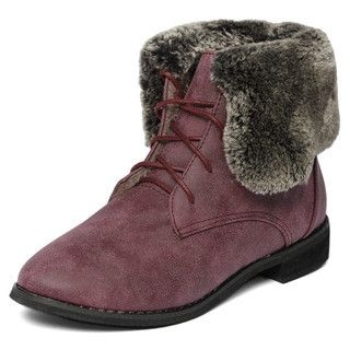 yeswalker - Faux Fur Trim Lace-Up Boots