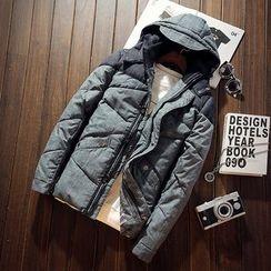 Alvicio - 拼接連帽夾棉大衣