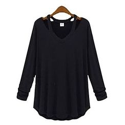 Rocho - Cutout V-Neck T-Shirt