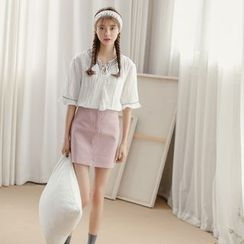 SUYISODA - Set: Embroidered Tassel Blouse + Dotted Skirt