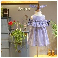 Rakkaus - Kids Sleeveless Striped Cutout Dress