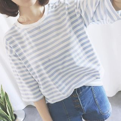 Dute - Stripe Elbow-Sleeve T-shirt