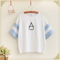 Fairyland - Color Panel Letter Embroidered Short Sleeve T-Shirt