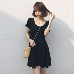 Bloombloom - Plain Short-Sleeve A-Line Dress