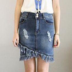 Ashlee - Fray Hem Distressed Denim Skirt