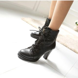 VIVIER - Genuine Leather Lace-Up Ankle Boots