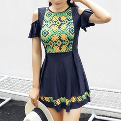 Roseate - Print Cutout Shoulder Swimdress