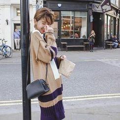 mimi&didi - Wide-Sleeve Color-Block Knit Dress