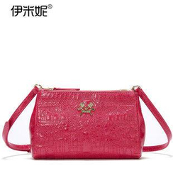 Emini House - Genuine Leather Embossed Crossbody Bag