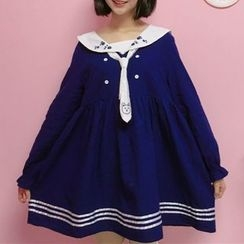 Moricode - Embroidered Sailor Collar Long-Sleeve Dress