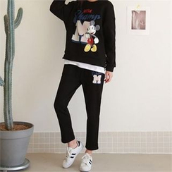 PINKSISLY - Set: Mickey Mouse Print Brushed Fleece Pullover + Sweat Pants