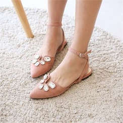 JVLLY - Rhinestone Ankle-Strap Faux-Suede Flats