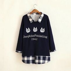 Angel Love - Cat Embroidered Gingham Panel Collared Pullover