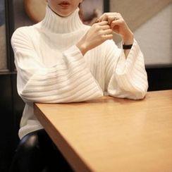 STYLEBYYAM - Turtle-Neck Wide-Sleeve Ribbed Knit Top