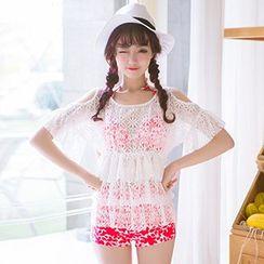 Sewwi - 套裝: 碎花比基尼泳裝 + 蕾絲外罩衫
