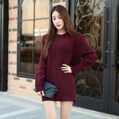 migunstyle - Round-Neck Cable-Knit Tunic