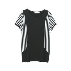 Flore - Short-Sleeve Striped Panel T-Shirt