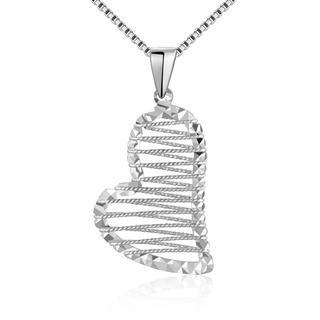 MaBelle - 14K Italian White Gold Diamond-Cut Heart in Net Necklace (16'), Women Jewelry in Gift Box