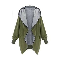 Mocha - Plain Hooded Zip Jacket