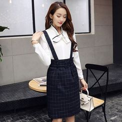 Romantica - Tie-Neck Blouse / Check Jumper Skirt