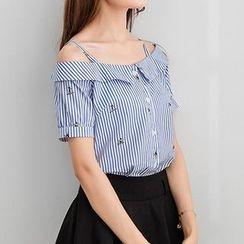 Joe & Dee - Short-Sleeve Off-Shoulder Striped Blouse