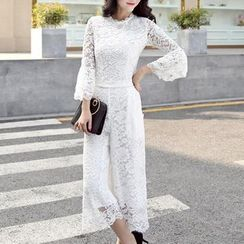 SEYLOS - Set: Long-Sleeve Lace Top + Cropped Lace Wide-Leg Pants