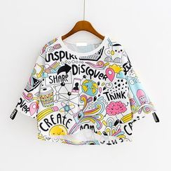 Sunny Day - Cat Print Elbow-Sleeve Cropped T-Shirt