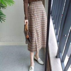 MATO - Plaid A-Line Midi Skirt