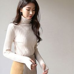 Hello sweety - Turtle-Neck Rib-Knit Top