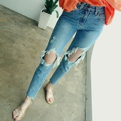 chuu - Cutout-Knee Washed Tapered Jeans