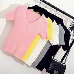 Coralie - Ribbed V-Neck Knit Short Sleeve T-Shirt