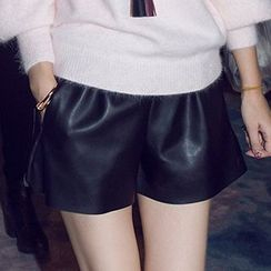 Crytelle - Faux Leather Shorts