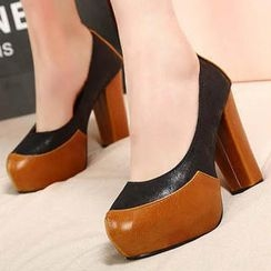Mancienne - Two-Tone Chunky-Heel Pumps