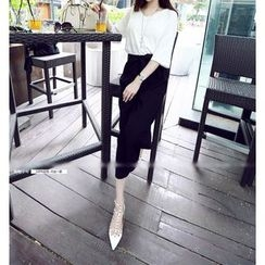 Shimi - Set: Print Short-Sleeve T-Shirt + Bow Cropped Wide Leg Pants