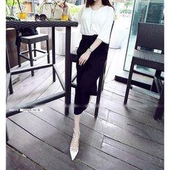 Shimi - 套装: 印花短袖T恤 + 蝴蝶结八分宽腿裤