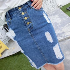 Fancy Show - Distressed Denim Pencil Skirt