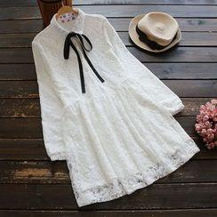 YOYO - 领结带蕾丝衬衫连衣裙