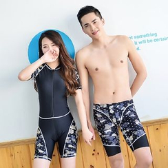 Roseate - Women Camouflage Rashguard / Men Swim Shorts