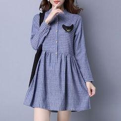 Diosa - Long-Sleeve Pinstriped Dress